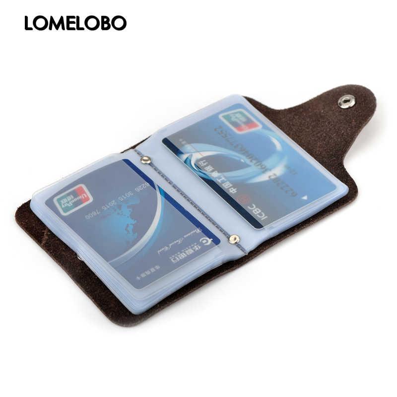 Lomelobo Lembut Kulit Split Bisnis Kartu Pemegang Dompet untuk Pria & Wanita Bank Kartu Kredit & ID Pemegang Tas HCL304