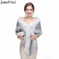 JaneVini Winter Bolero Fille Womens Black Faux Fur Wrap Wedding Coat Shawl Evening Formal Dress Shoulder Capes Bridal Fur Stoles