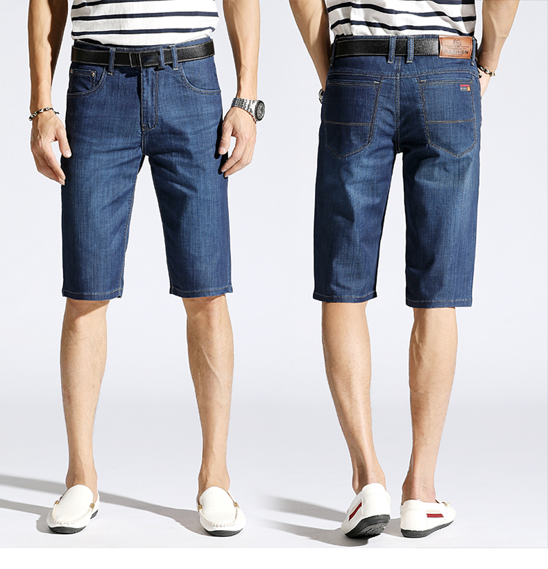 KSTUN Summer Denim Shorts Jeans Men Blue Slim Straight Business Casual Knee Length Shorts High Quality Elastic Brand Clothes 38 13
