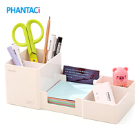 Korea Multifunctional Plastic Pen Holder 25 11 9cm Office School Student Stationery Desk Organizer Holder Set