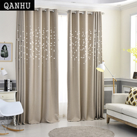 QANHU Modern Cotton Stars Window Curtains For Living Room Quality Free Shipping Bedroom Curtain Door Curtain