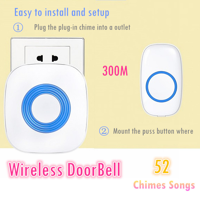 Home Office 300m Range Waterproof Smart Wireless Door Bell 52 Chords LED Doorbell AC 220-220V Receiver+12V 23A Transmitter wireless home security door bell call button access control with 1pcs transmitter launcher 1pcs receiver waterproof f3310b