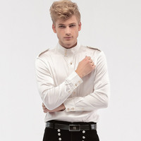 FANZHUAN Free Shipping New fashion personality male Men's Wedding White groom badges stand collar long sleeved loose shirt 14276 1