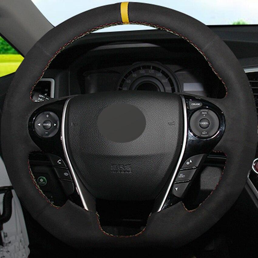 Couvre-volant cousu main en daim noir pour Honda Accord 9 Odyssey Crosstour 2013-2016