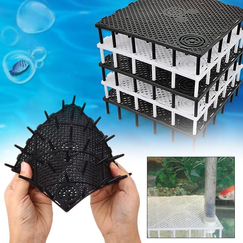 1Pc 14.3*14.3cm Plastic Black/White Filter Board Aquarium Fish Tank Filter Bottom Isolation Board Net Divider Holder Accessories