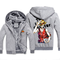 Funny Print One Piece Men Sweatshirts Autumn Winter Thick Fleece Man Hoody Grey Hooded Anime Character Homme Hoodies Jackets