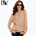 DIV New Fashion Solid Color Sweater Women Unique Style V-Neck Lace Up Adaptable Shoulder Loose Pullovers Sweater