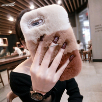 100 Handmade DIY Rex Rabbit Fur Warm Phone Cases Fashion Diamond MobilePhone Cover Crystal Covers For