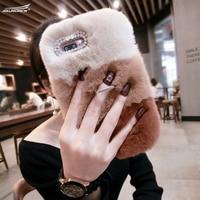 100 Handmade DIY Rex Rabbit Fur Warm Phone Cases Fashion Diamond MobilePhone Cover Crystal Covers For