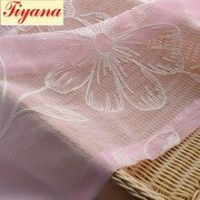 Translucidus gauze for screen window pink flower pattern tulle sheer Curtain valance for living room bedroom balcony WP003 *30