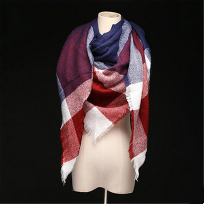 2019 Winter Fashion Designer Cashmere Triangle Scarf Women Shawl Acrylic Cape Blanket Plaid Foulard Wholesale Drop Shipping
