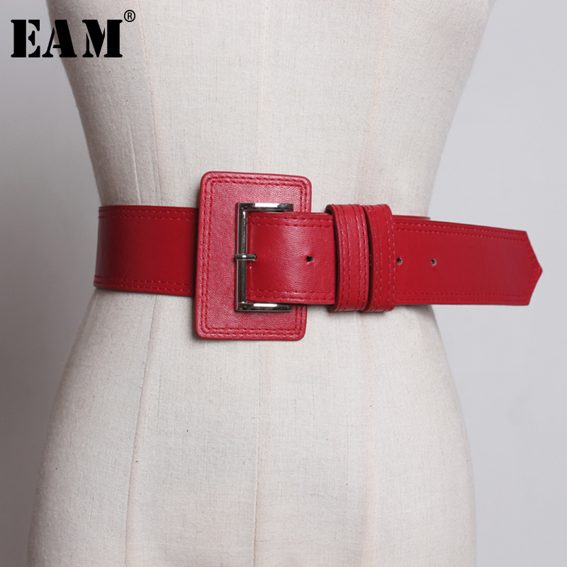 [EAM] 2019 New Spring Summer Pu Leather Black Pu Leather Buckle Split Joint Personality Belt Women Fashion Tide All-match JQ817