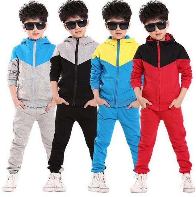 spring autumn 2017 children kids teenage boys clothing sets big boys hoodies sets clothing set coat jacket pants outfits retail