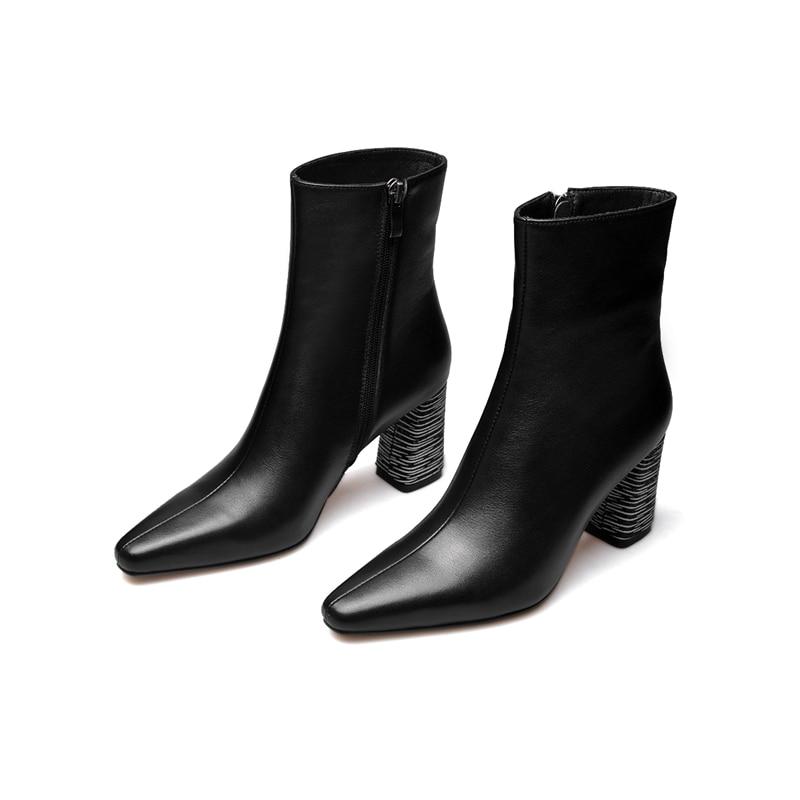 Alto Llegada Invierno De Botas Size34 Cuero Mujer Tacón Zapatos Nueva Tobillo Mujeres Cr1650 Cremallera Corto Dedo Enmayer 39 Black IxHqvRnwSp