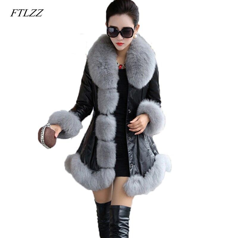 FTLZZ Plus Size 6XL Pu   Leather   Faux Fur Coat New Women Winter Fur Jacket Casual Long Synthetic Fox Fur Collar Lady Overcoat