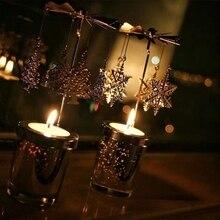 Candle Holder Holder Carousel Rotating Rotating Metal Candlesticks Tealight Birthday Christmas Festival Modern Home Decor Gift