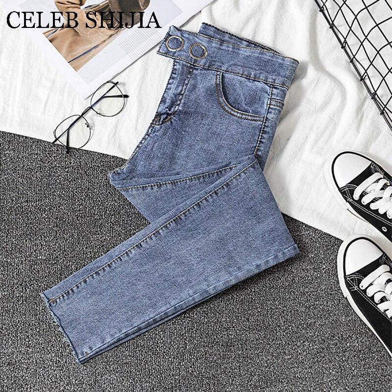 2020 Jeans Female Denim Pants Korean Fashion Buttom Blue Bottom Womans Pencil Pants Elastic Denim Trousers For Ladies Donna
