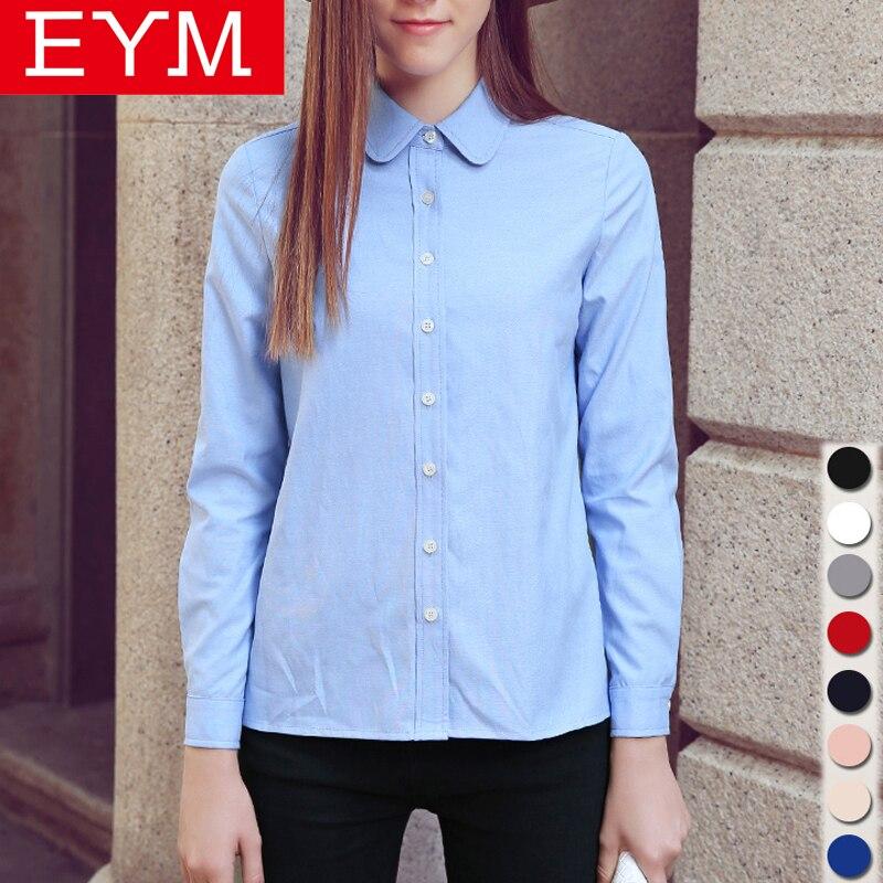 Blusas de las mujeres 2017 Nuevo Llegado MEJ Marca Casual Algodón Oxford Camisa