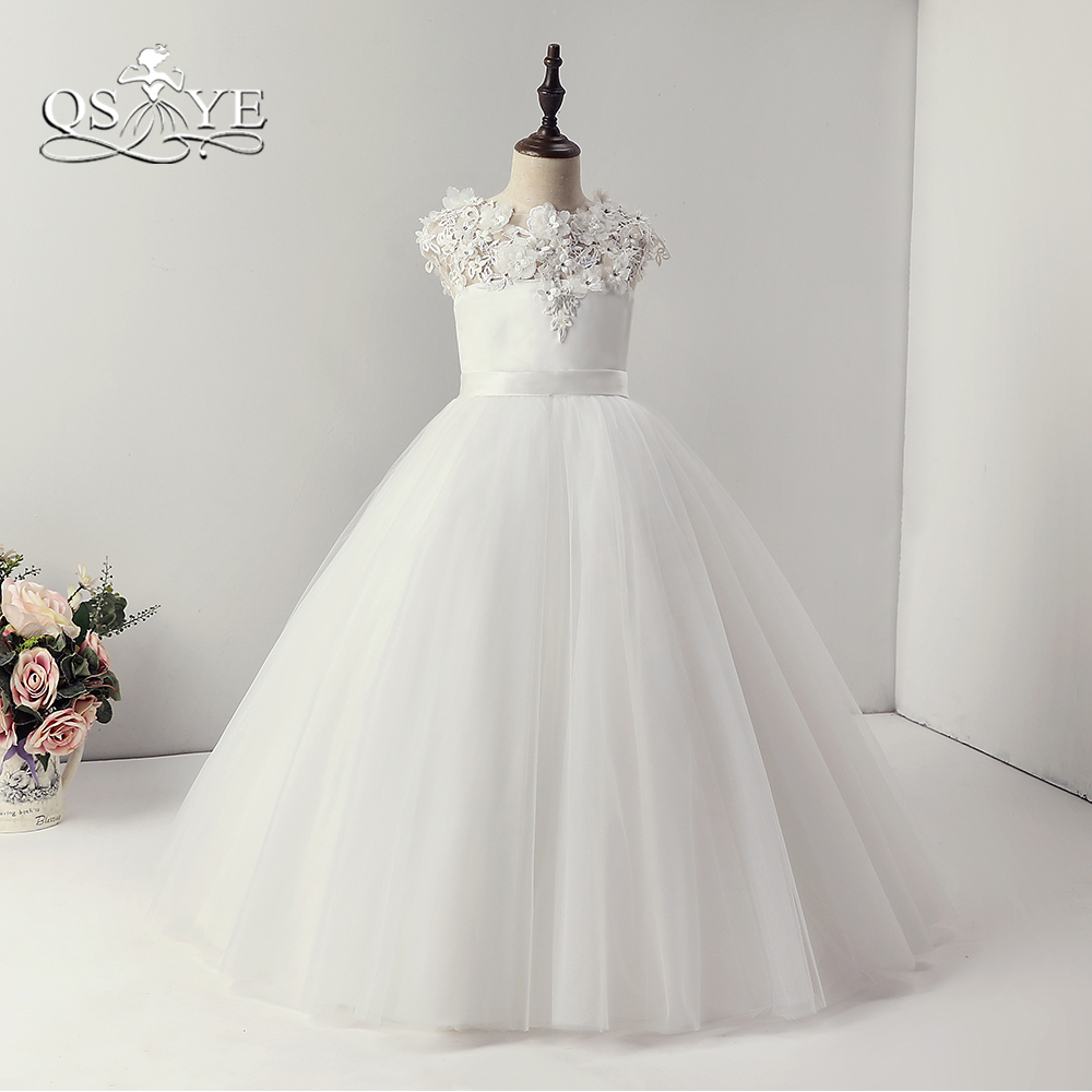 QSYYE 2018 White   Flower     Girl     Dresses   3D Floral   Flower   Neck Floor Length Tulle   Girls   First Communication   Dress   For Weddings