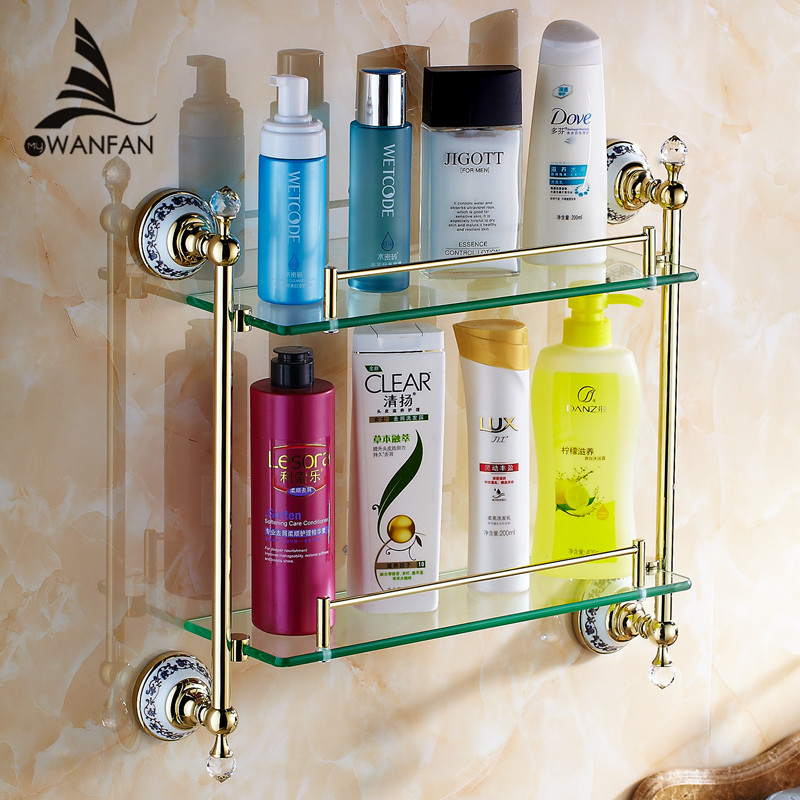 Bathroom Shelves Double Tempered Glass Shelf Solid Brass Golden Shower Rack Wall Mount Bath Shampoo Cosmetic Storage Holder 6314 factory outlet iron bathroom shelf storage rack shelves multilayer promotions