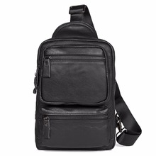 New Excellent Leather Unique Mens Classic Style Chest Bag Hot Selling Black Sling Small Messenger For Young 4011A