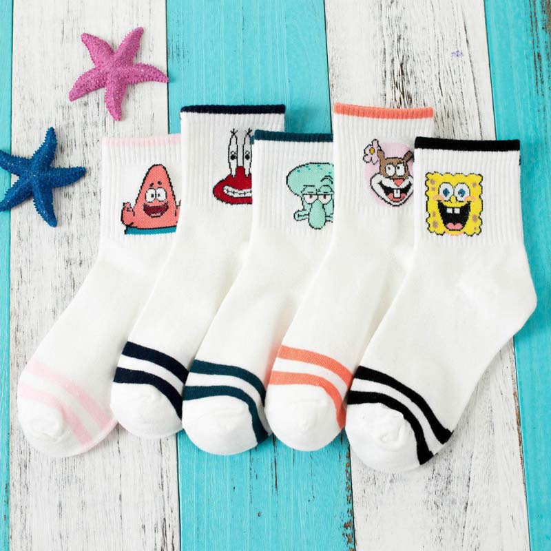 Fashion Cartoon Character Cute Short Socks Women Harajuku Cute Patterend Ankle Socks Hipster Skatebord Ankle Funny Socks S-8