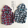 Retail 2-7Y baby boys shirt plaid long sleeve kids hooded shirts children clothes boys tops boys casual outwear coat clothes