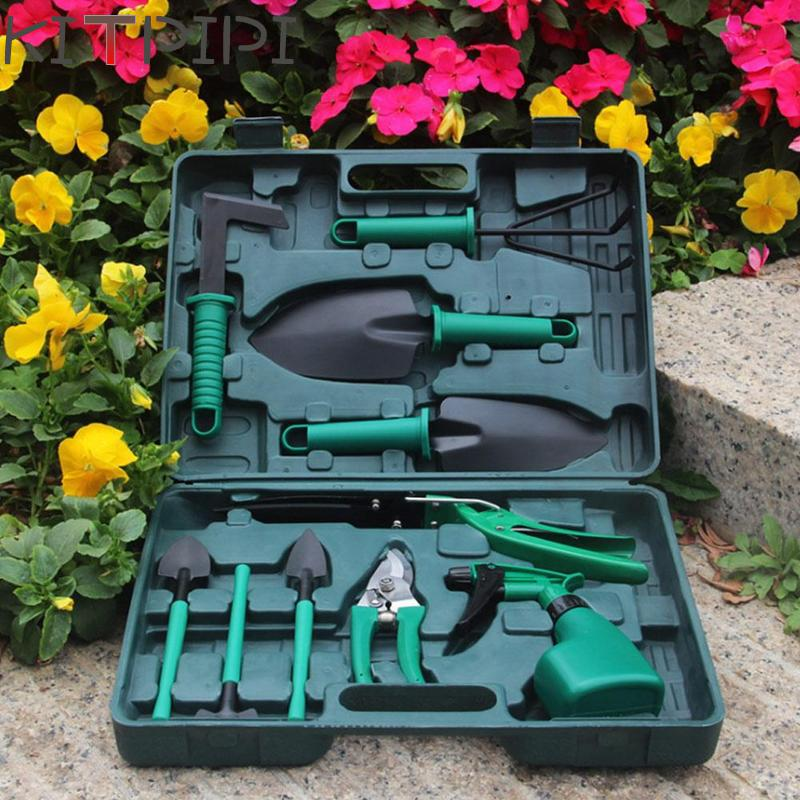 10 Pcs/set Garden Tool Set Shovel Rake Clippers Household Multifunctiona Kit Garden Planting Plastic Case Packing YLW3766B new 3pcs outdoor garden tools set rake shovel playset kids beach sandbox toy
