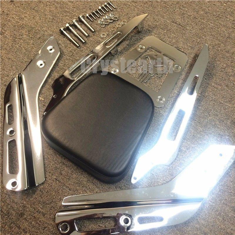Heavy Duty Chrome Skull Motorcycle Backrest Sissy Bar+Cushion Pad Kit For Honda VTX 1300C 1800C All Year / VTX 1800F 2005-2011