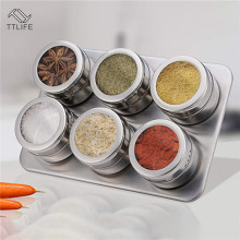 TTLIFE Magnetic Spice Jars Pot with Rack 304 Stainless Steel Tins Storage Jar Pepper Seasoning Shakers