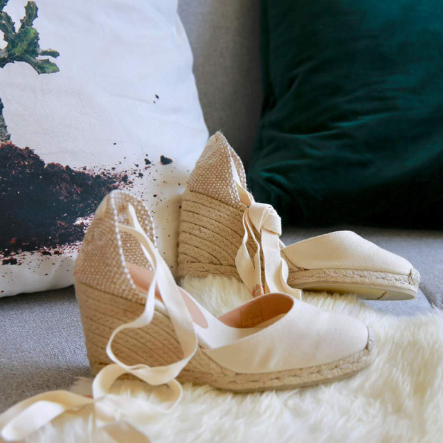 b5353e0ad8ef Lace up Women Espadrilles High Heel Fisherman Sandals Women Summer Fashion  Espadrilles Wedges Blue Beach Shoes Women SWC0006