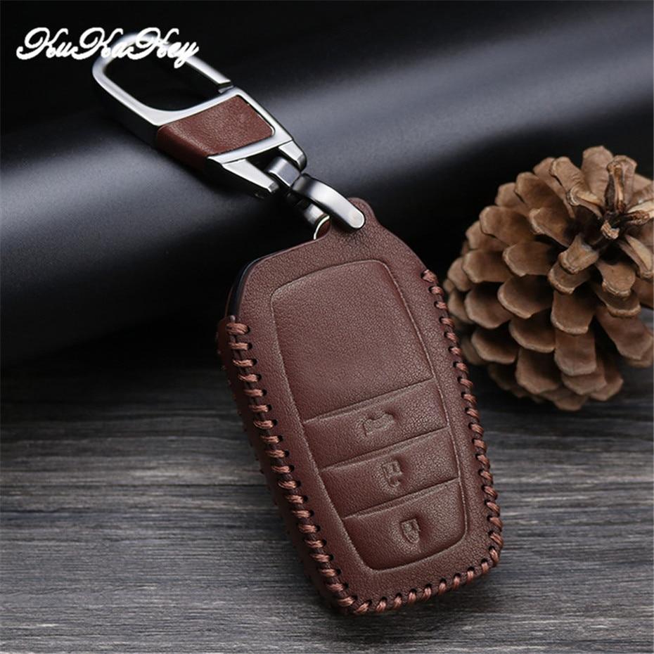 2&3 Button Leather Car Key Case For Toyota Highlander Land Cruiser Riez RAV4 Camry Prado Auto Key Cover Bag Scratches Protector