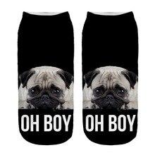 Забавные носки с 3d принтом мопса для мальчиков и девочек