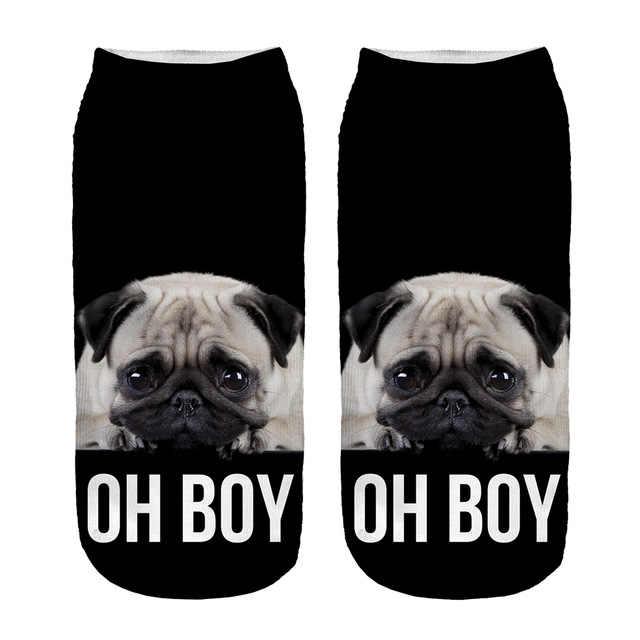 KOŞU CIVCIV oh erkek pug 3d baskı komik çoraplar toptan