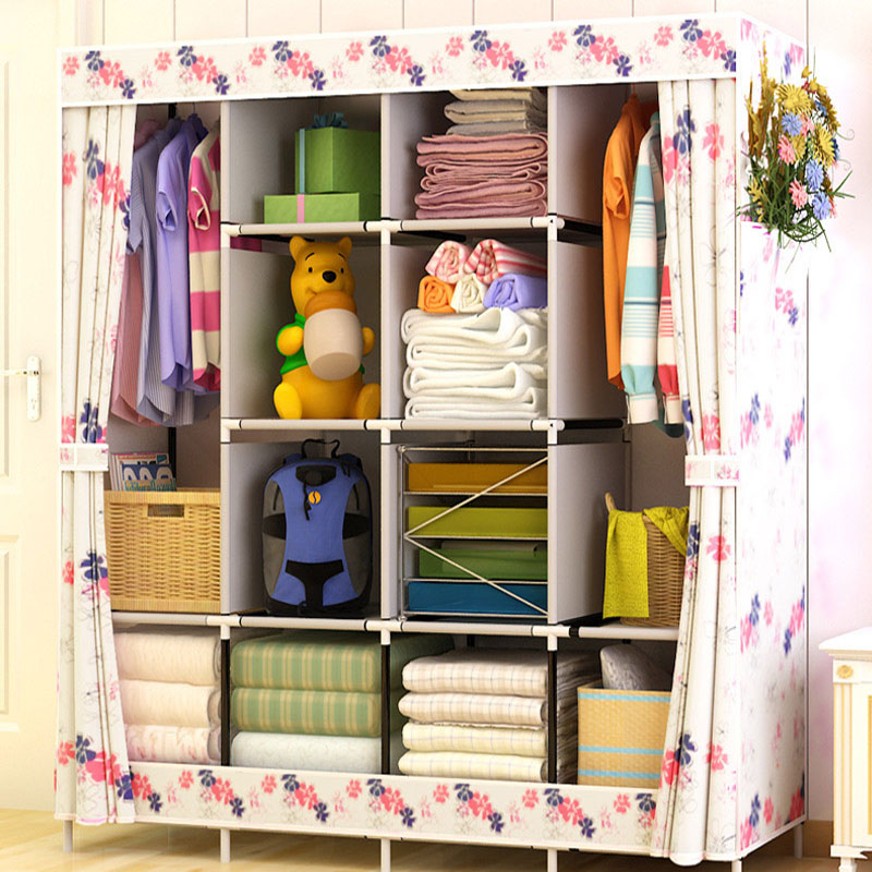 Fashionable Art Home Furnishing Non-woven Bedroom Furniture Portable Cabinet Assembly Multifunctional Foldable Wardrobe Closets ...