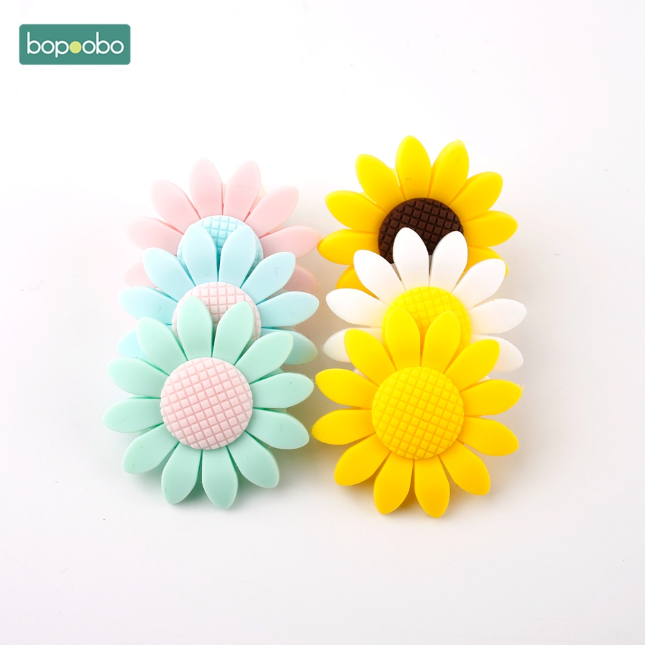 Bopoobo 3pcs Silicone Beads Food Grade Baby Teether Sunflower Baby Necklace Different Colors Of Silicone Baby Teething Diy Toys