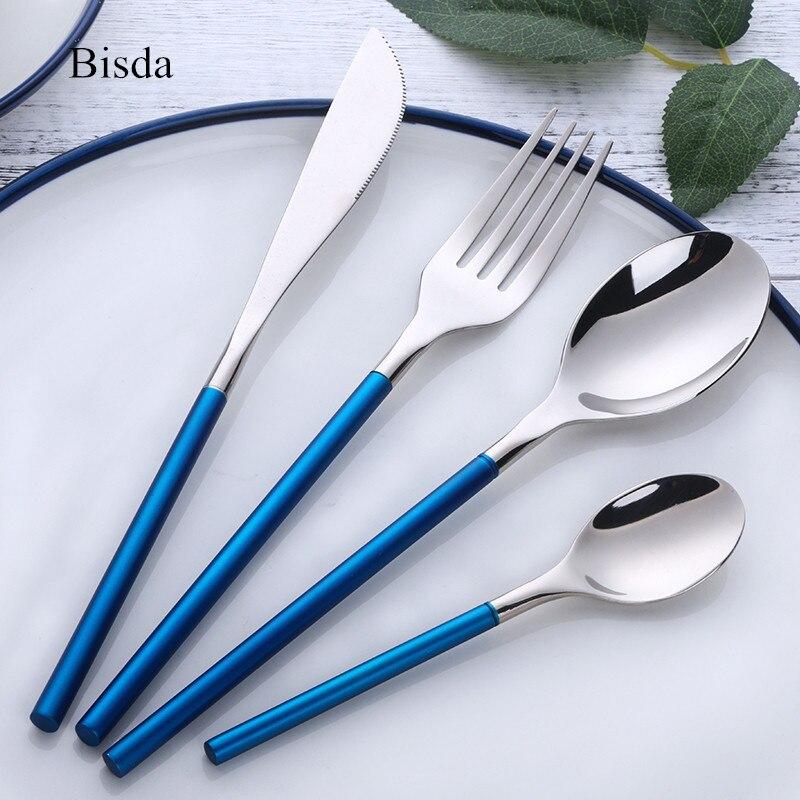 4 unids/set azul cubertería occidental de acero inoxidable alimentos negro Vajilla Sets Tenedores cena cuchillo oro Vajilla set gota