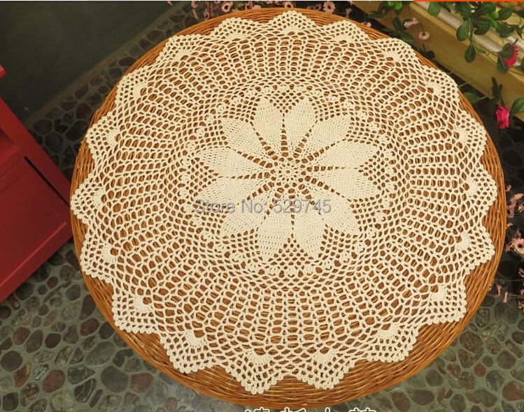 Handmade Cotton Crochet Lace Flowers Small Round Tablecloths European  Nostalgia Hollow Decorative Mat(China (