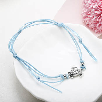 NS37 Summer Beach Turtle Shaped Charm Rope String Anklets For Women Ankle Bracelet Woman Sandals On the Leg Chain Foot Jewelry 5
