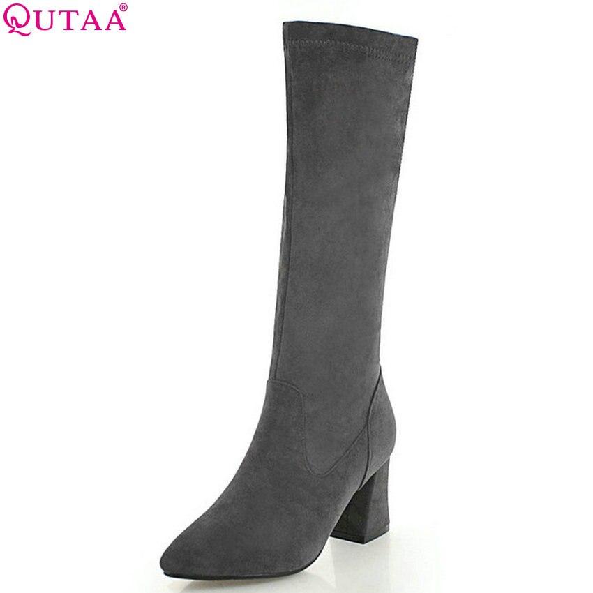 Chaussures Sélections 34 Toutes Les Mode Moto Élégant Taille gris Haute Zipper Femmes 2019 43 Qutaa jioatangse Bottes Genou De forme Noir Plate TOfnq