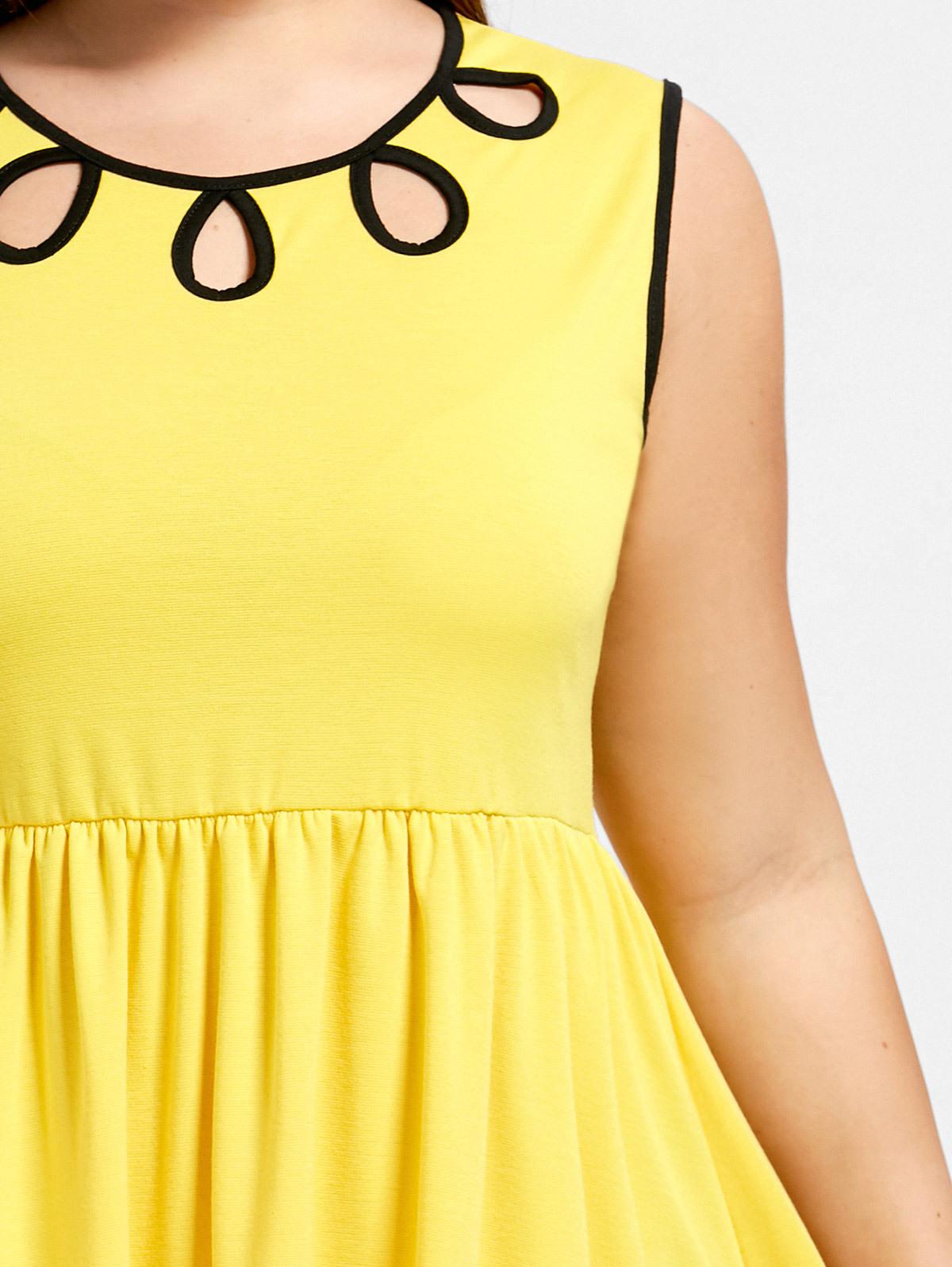 3d6bd6f5aea Oxiuly 2 Colors Plus Size Plain Yellow Women Vintage Dresses Elegant ...