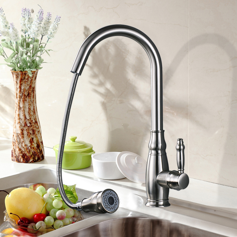 Uythner Black Blackened 4 color Kitchen Faucet Pull Out 2 Function Switch Swivel Spout Sink Mixer