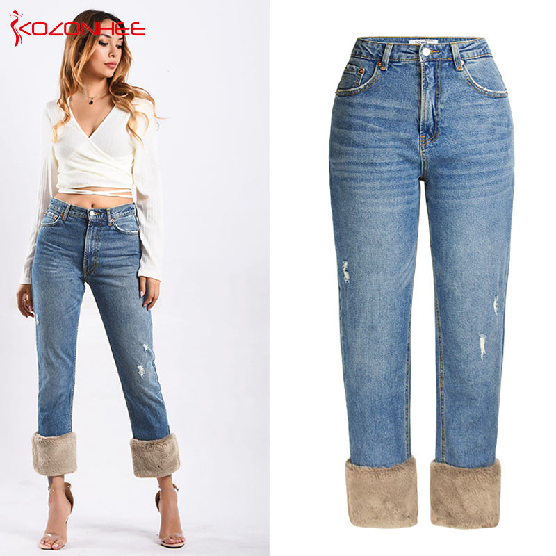 Straight Blue Vintage Fluffy Women 34 Design Jeans With Ripped Trousers High Mom Waist r171qpYRAw