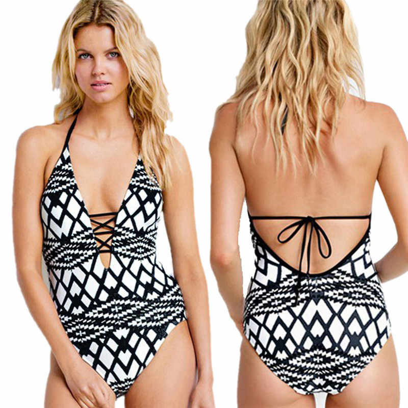Femmes multicolore femmes impression géométrie triangulaire col en V sexy bikini maillot de bain dos nu combinaison maillots de bain combinaison 01