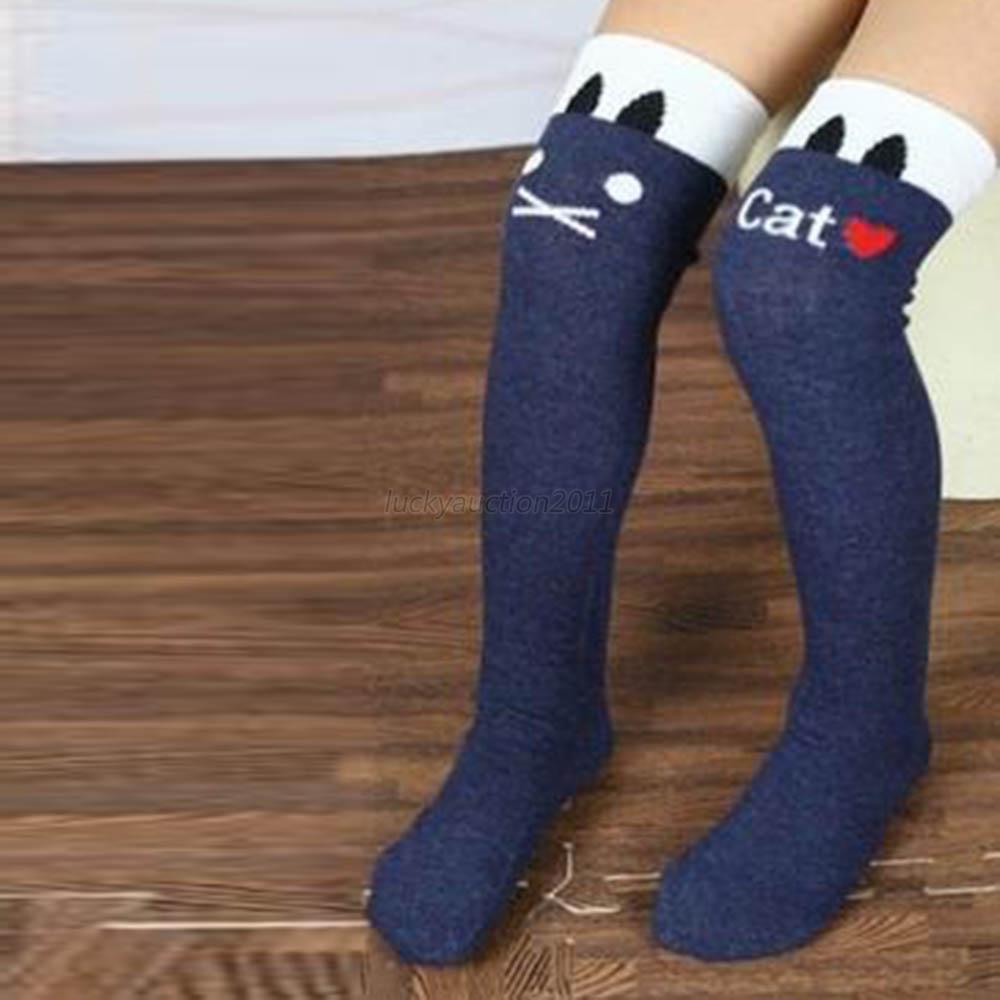 Stirp Lovely Fashion Baby Children Kids Girl's Letter Cat Black Leg Warmers Stockings 7 Colors
