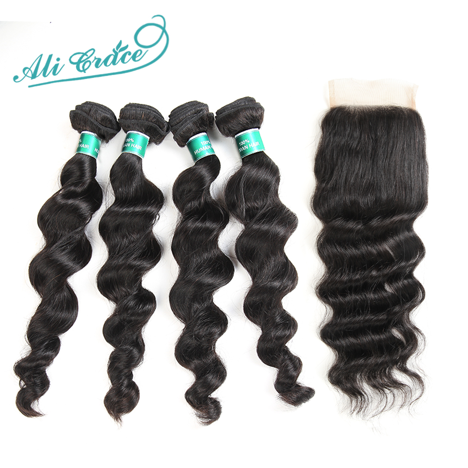 Ali Grace Hair Brazilian Loose Wave With Closure 100 Remy Human Hair 4 Bundles With 4