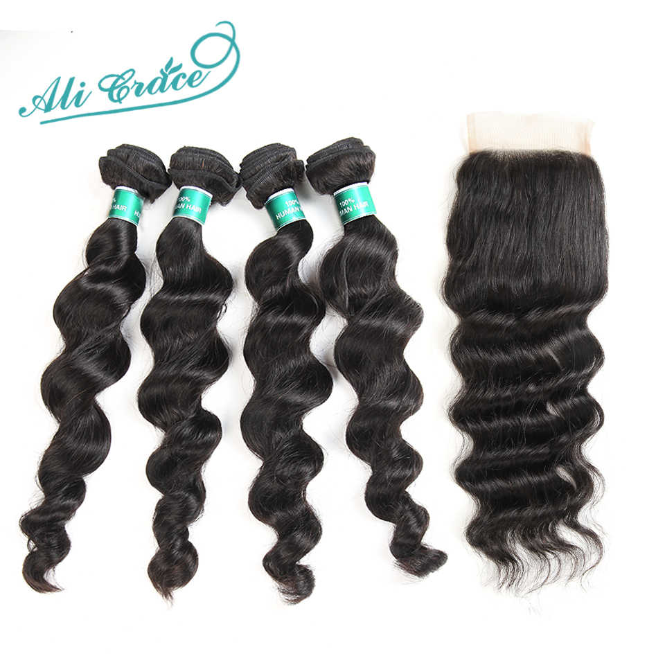 Ali Grace Hair Brazilian Loose Wave With Closure 100% Remy Human Hair 4 Bundles With 4*4 Free Middle Part Lace Closure
