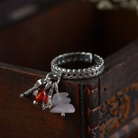 Real Silver Garnet Accessories Ring For Women 925 Sterling Silver Adjustable Ring Original Handmade Jewelry
