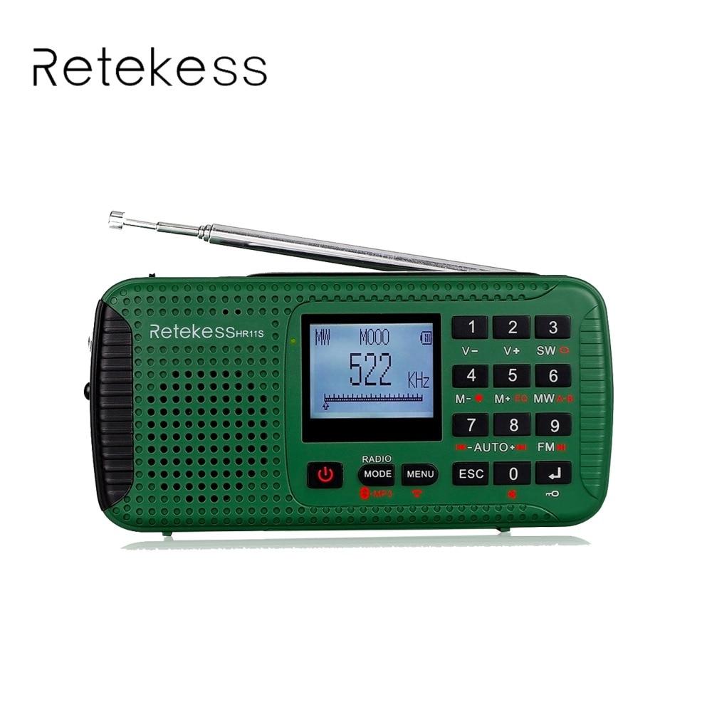 Retekess HR-11S Digital Recorder Portable FM/MW/SW Hand Crank Solar Emergency Alert Radio Station Bluetooth Music Player F9208G tivdio hr 11s portable radio hand crank solar emergency radio receiver fm mw sw with bluetooth mp3 player digital recorder f9208
