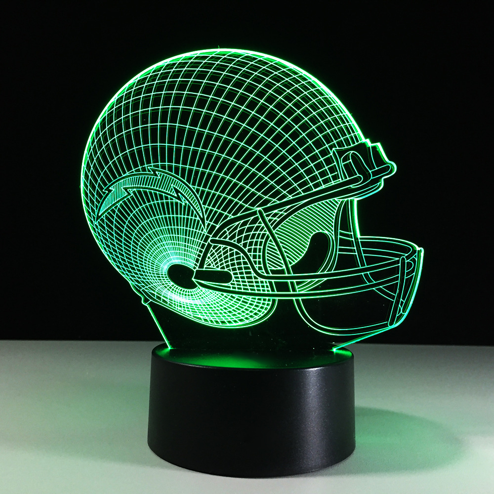 7 Colors Changing 3D Rugby Cap Desk Lamp LED Luminaria Visual Football Helmet Night Lights Bedroom Bedside Sleep Lighting Decor